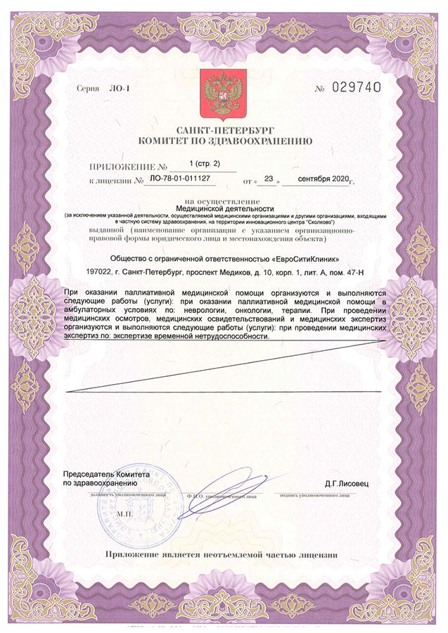 Приложение №1 (стр.2) к лицензии ЛО-78-01-011127 от 23.09.2020г.